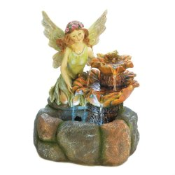 Colorful Fairy with a Natural Rock Design Outdoor Garden Fountain