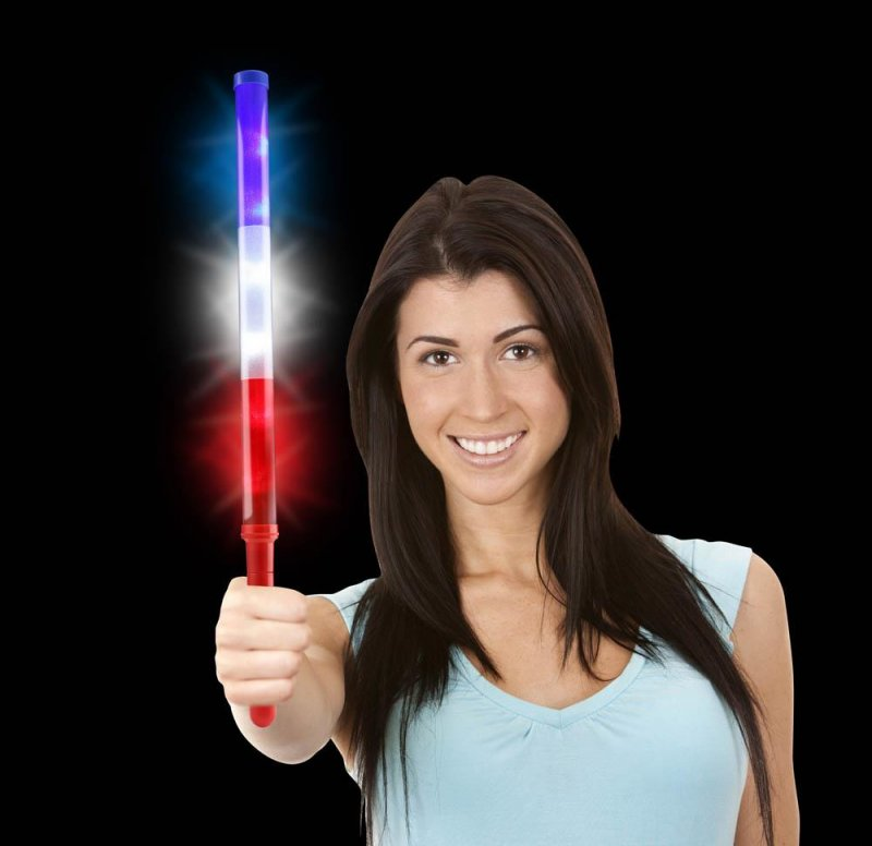 Image 1 of Set of 2 Patriotic LED Light Up Batons Red, White & Blue Battery Included