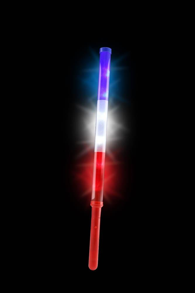 Image 2 of Set of 2 Patriotic LED Light Up Batons Red, White & Blue Battery Included