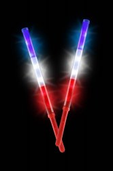 Set of 2 Patriotic LED Light Up Batons Red, White & Blue Battery Included