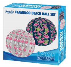 Set of 2 Pink Flamingo Beach Balls