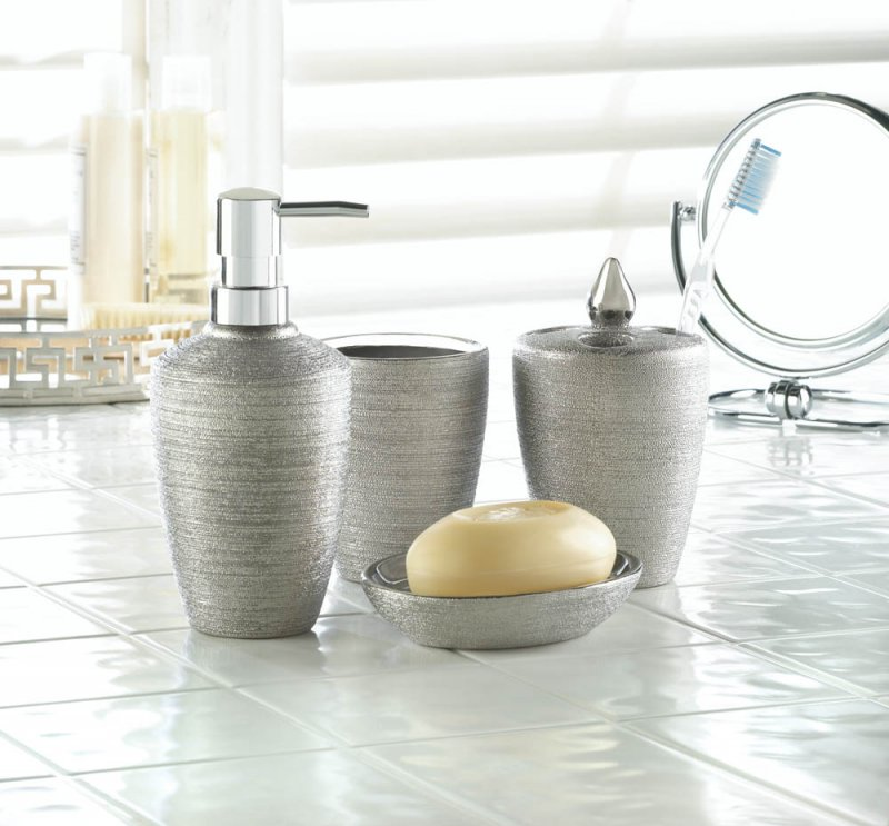 Image 0 of 4-Piece Sleek Contemporary Silver Shimmer Porcelain Bath Accessory Set