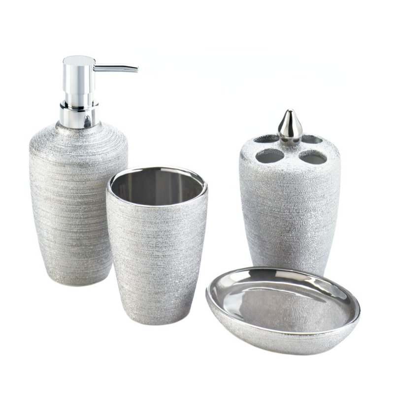 Image 1 of 4-Piece Sleek Contemporary Silver Shimmer Porcelain Bath Accessory Set