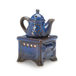 Country Blue Porcelain Teapot and Stove Oil Warmer