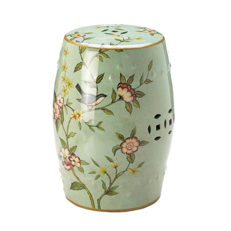 Image 1 of Green Ceramic  Patio Stool, Side Table, Plant Stand Blue Birds & Flower Theme