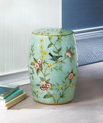 Green Ceramic  Patio Stool, Side Table, Plant Stand Blue Birds & Flower Theme