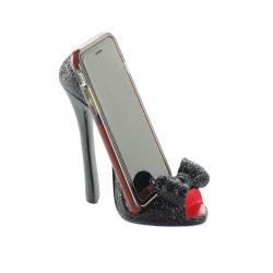 Black Bow Open Toe High Heel Cell Phone Holder