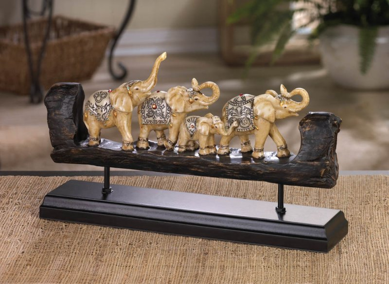 Image 0 of Carved Elephant Family Dressed in Dazzling Bejeweled Accents on Wooden Base
