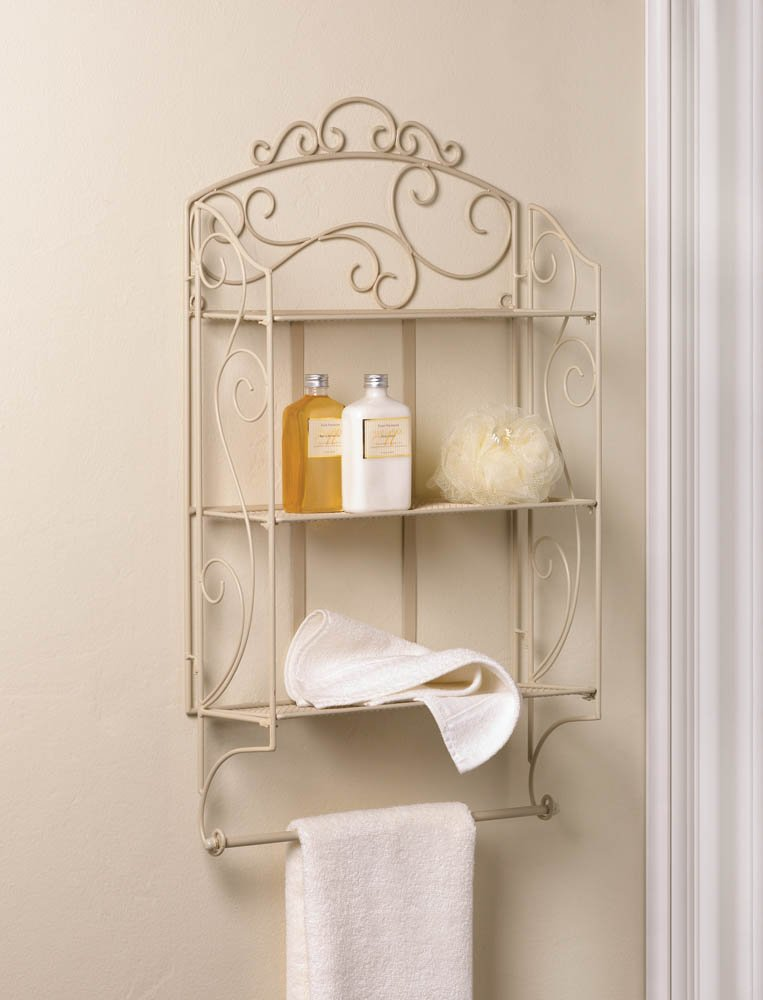 Image 0 of Ivory Swirls Scrollwork Iron Wall Shelves and Towel Holder Bar or Display Shelf