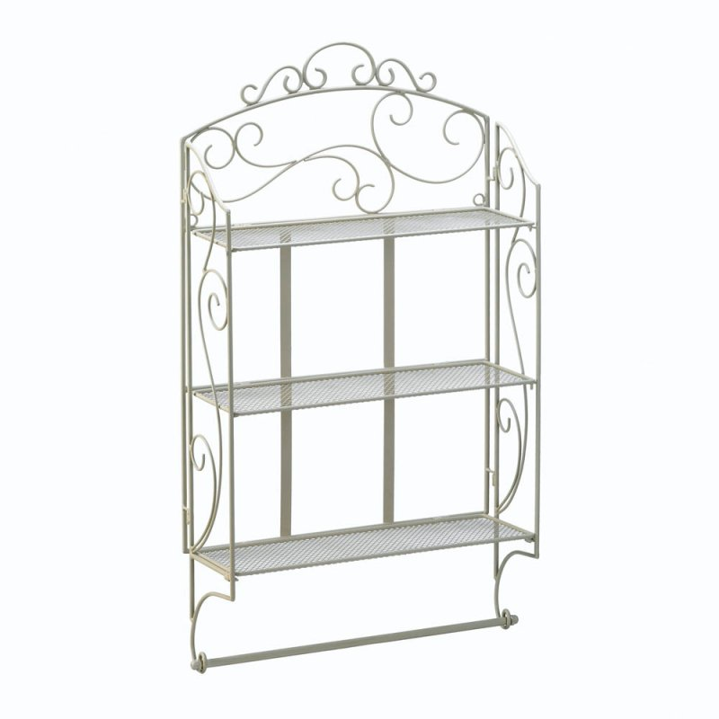 Image 1 of Ivory Swirls Scrollwork Iron Wall Shelves and Towel Holder Bar or Display Shelf