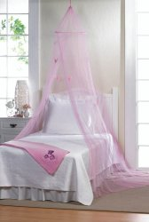 Pretty Pink Butterfly Bed Netting Canopy Mounting Hardware Included