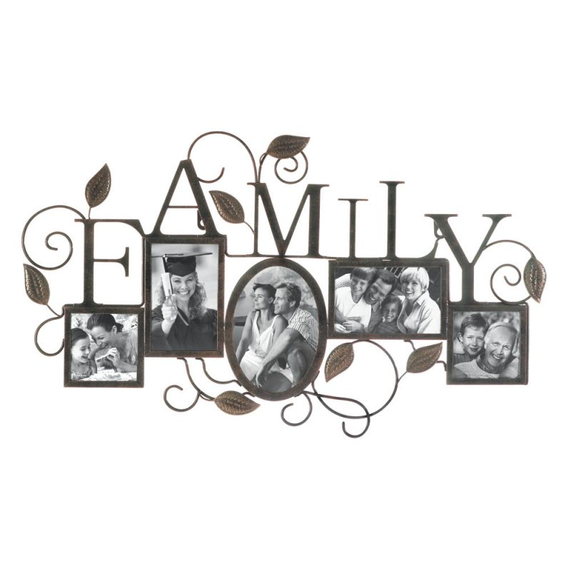 Image 1 of Black Iron Family 5-Photo Wall Frame with Scrolling Vines & Leaves