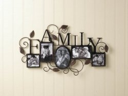 Black Iron Family 5-Photo Wall Frame with Scrolling Vines & Leaves