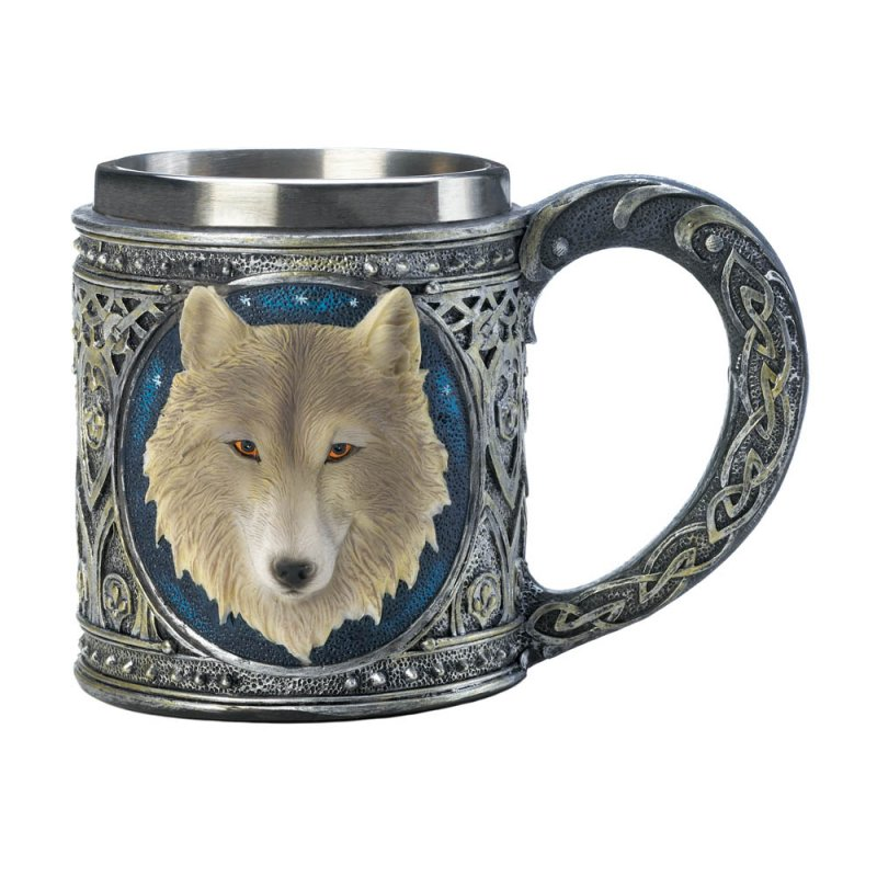 Image 1 of Gothic Celtic Design Stainless Steel Mug with White Timber Wolf Bust