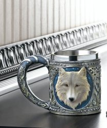Gothic Celtic Design Stainless Steel Mug with White Timber Wolf Bust