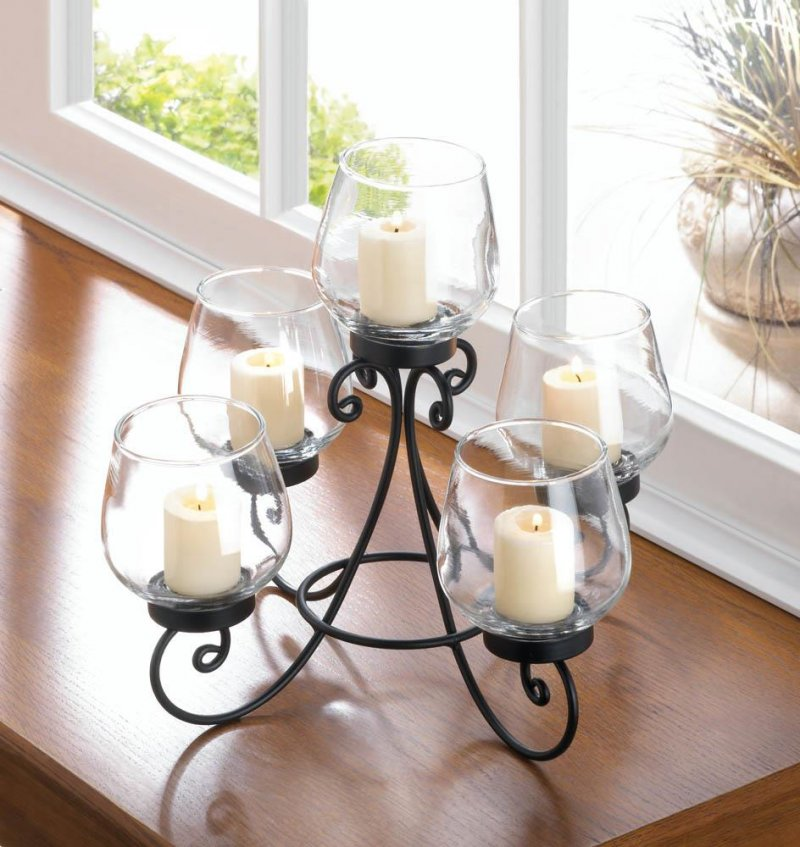 Image 0 of Enlightened 5 Candle Cups on Ornate Black Iron Candle Holder Stand Centerpiece
