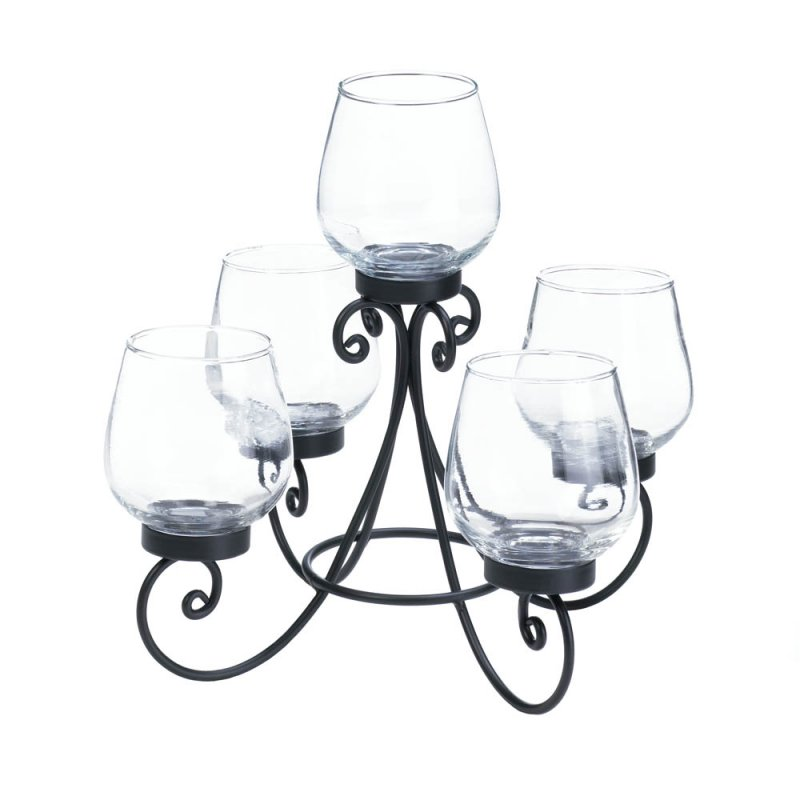 Image 1 of Enlightened 5 Candle Cups on Ornate Black Iron Candle Holder Stand Centerpiece