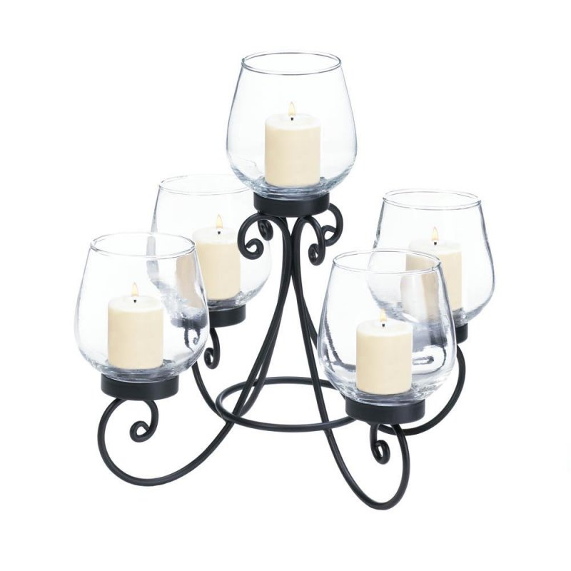Image 2 of Enlightened 5 Candle Cups on Ornate Black Iron Candle Holder Stand Centerpiece