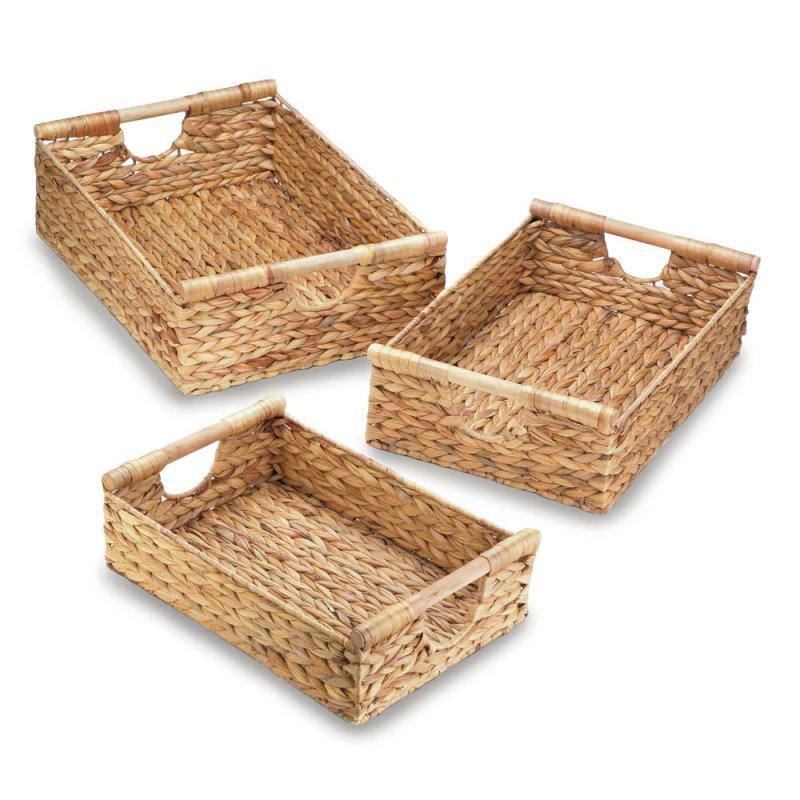 Image 0 of Set of 3 Braided Water Hyacinth Straw Nesting Storage Baskets w/ Dowel Handles