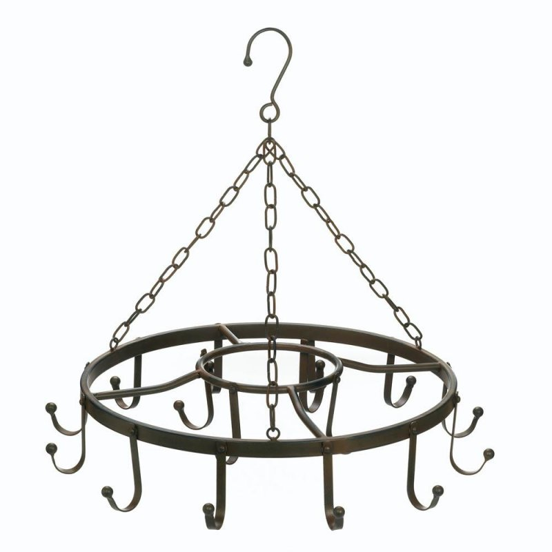 Image 0 of Black Iron Circular Hanging Pot, Pan Rack