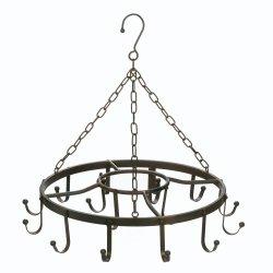 Black Iron Circular Hanging Pot, Pan Rack