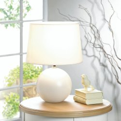 Classic White Round Ceramic Base Table Lamp with Matching Fabric Shade