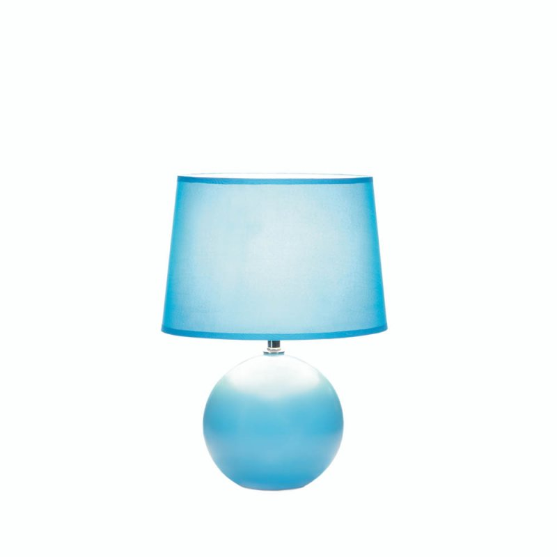 Image 0 of Cool Blue Round Ceramic Base Table Lamp with Matching Fabric Shade