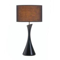 Sleek Modern Black Ceramic Base Table Lamp w/ Dark Fabric Shade