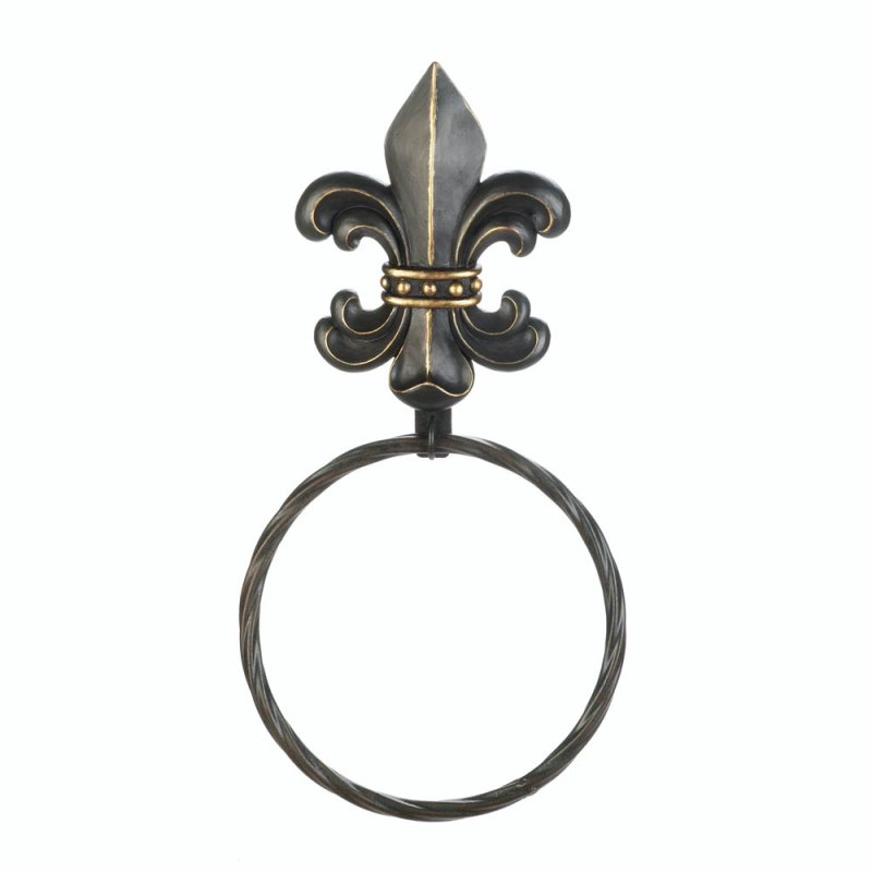 Image 1 of Black Fleur de Lis with Gold Accents Iron Wall Towel Holder Twisted Ring