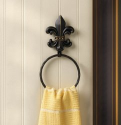 Black Fleur de Lis with Gold Accents Iron Wall Towel Holder Twisted Ring