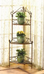 Rustic Scrollwork Kitchen Corner Baker's Rack or Plant Stand