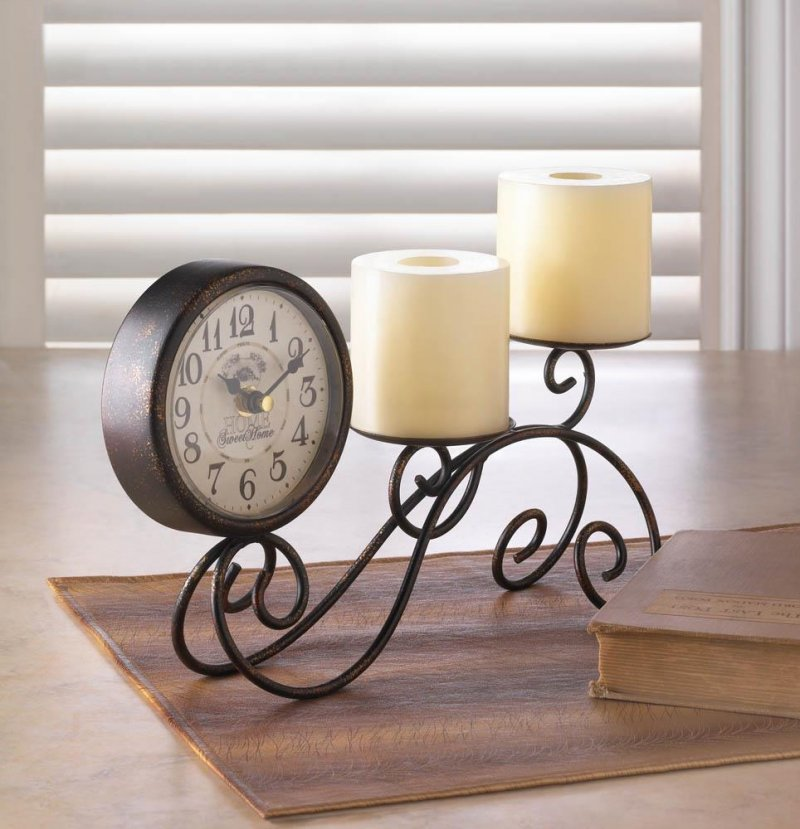 Image 0 of Table, Mantel, Desk Scrollwork Pillar Candle Holder with Vintage Style Clock