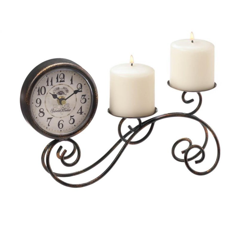 Image 1 of Table, Mantel, Desk Scrollwork Pillar Candle Holder with Vintage Style Clock