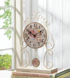 Country Rose Theme Desk, Table, Mantel Clock w/ Soft White Iron Flourishes Frame