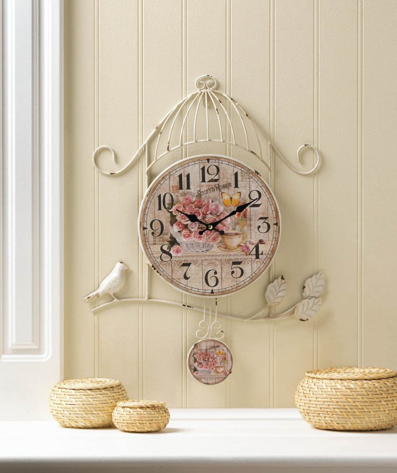 Image 0 of Country Rose Wall Clock in Distressed White Birdcage Frame & Bird on Branch