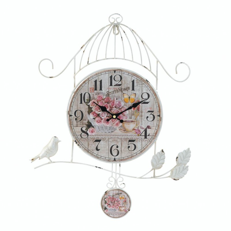 Image 1 of Country Rose Wall Clock in Distressed White Birdcage Frame & Bird on Branch