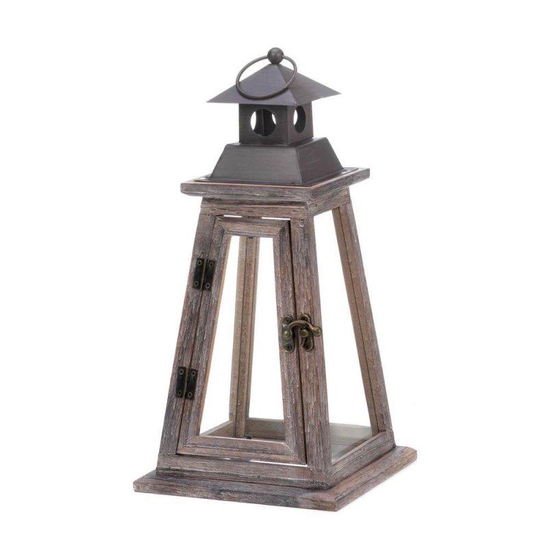 Image 1 of Rustic Pine Wood Pyramid Design Watchtower Candle Lantern