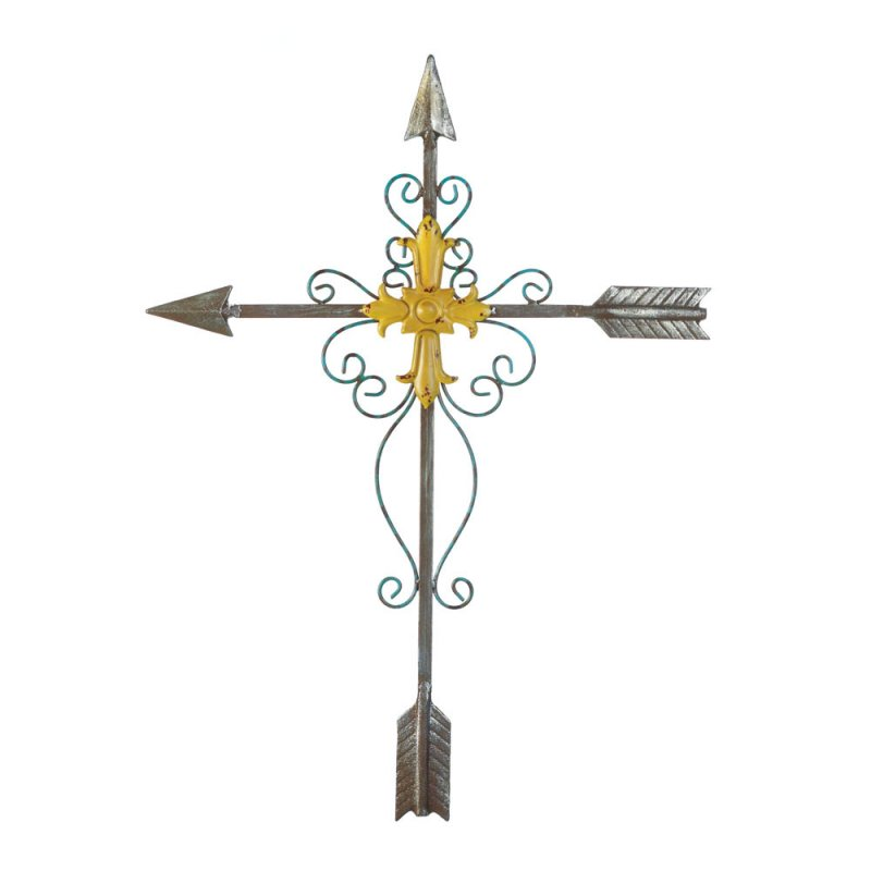 Image 1 of Crossed Arrow Wall Cross With Golden Cross in Center & Decorative Flourishes