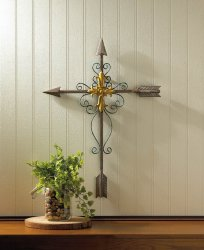Crossed Arrow Wall Cross With Golden Cross in Center & Decorative Flourishes