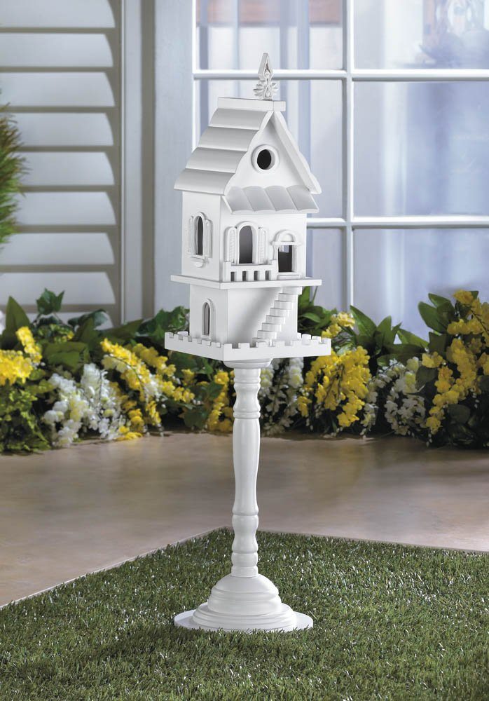 Image 0 of White 2 Story Birdhouse on Pedestal Stand Front Staircase, Multiple Entrances
