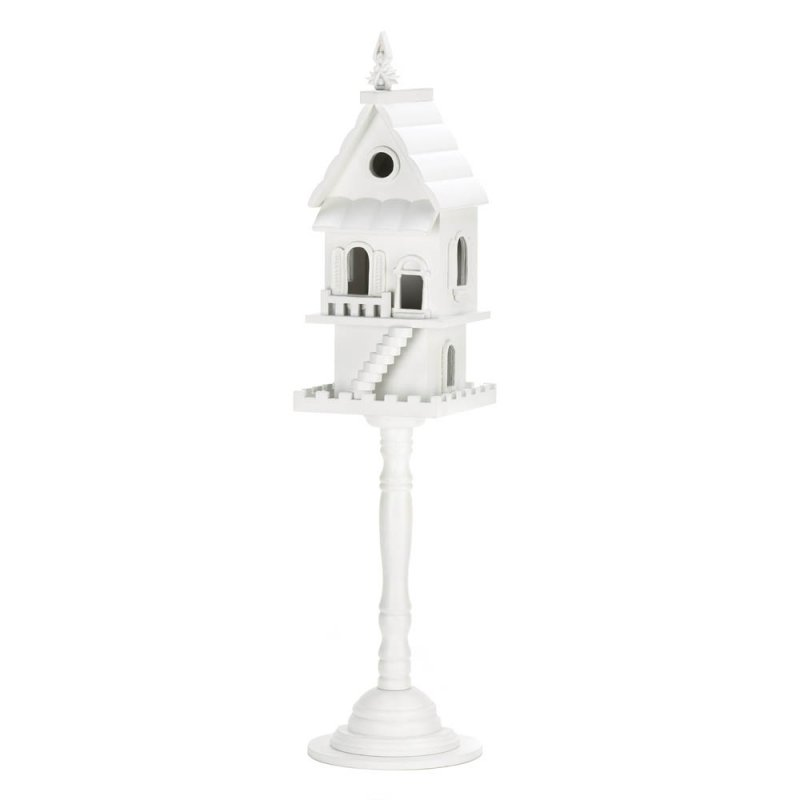 Image 1 of White 2 Story Birdhouse on Pedestal Stand Front Staircase, Multiple Entrances