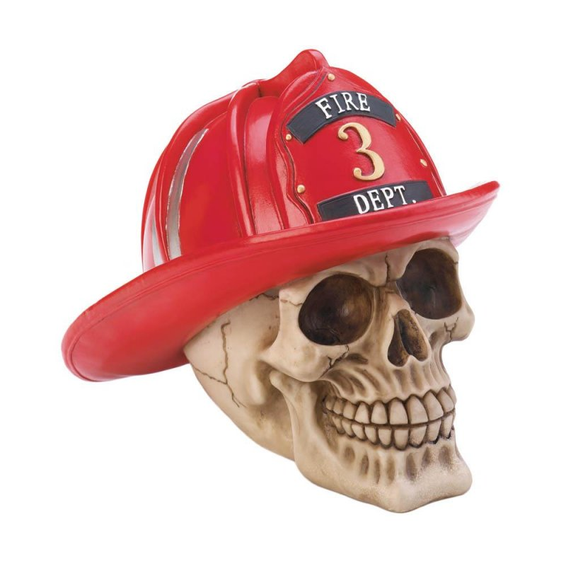 Image 0 of Firefighter Skull Wearing Red Fire Dept Hat with # 3 Figurine