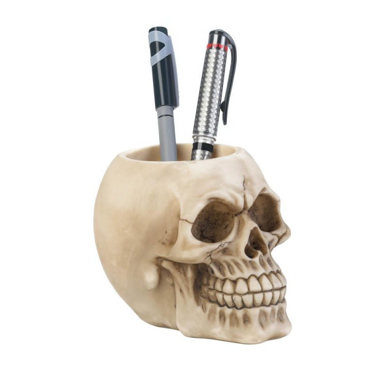 Image 0 of Detailed Skull Pen & Pencil Holder Figurine