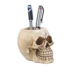Detailed Skull Pen & Pencil Holder Figurine