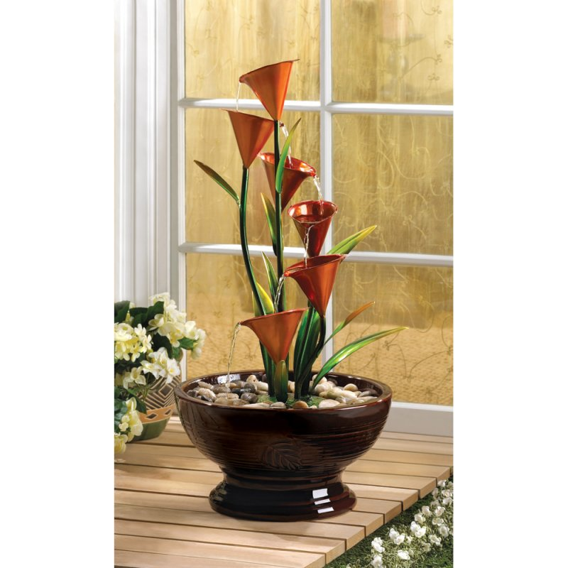 Image 0 of Indoor Calla Lily Water Fountain Sculpture Centerpiece Electrical