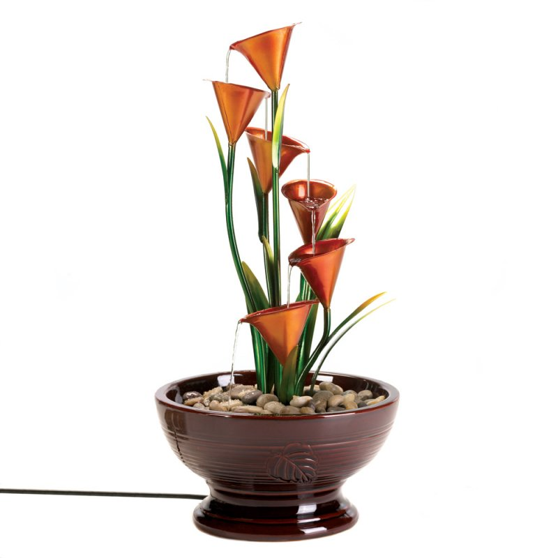 Image 1 of Indoor Calla Lily Water Fountain Sculpture Centerpiece Electrical