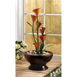 Indoor Calla Lily Water Fountain Sculpture Centerpiece Electrical