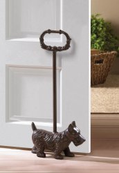 Cute Terrier Doggy Door Stop with Handle Cast Iron