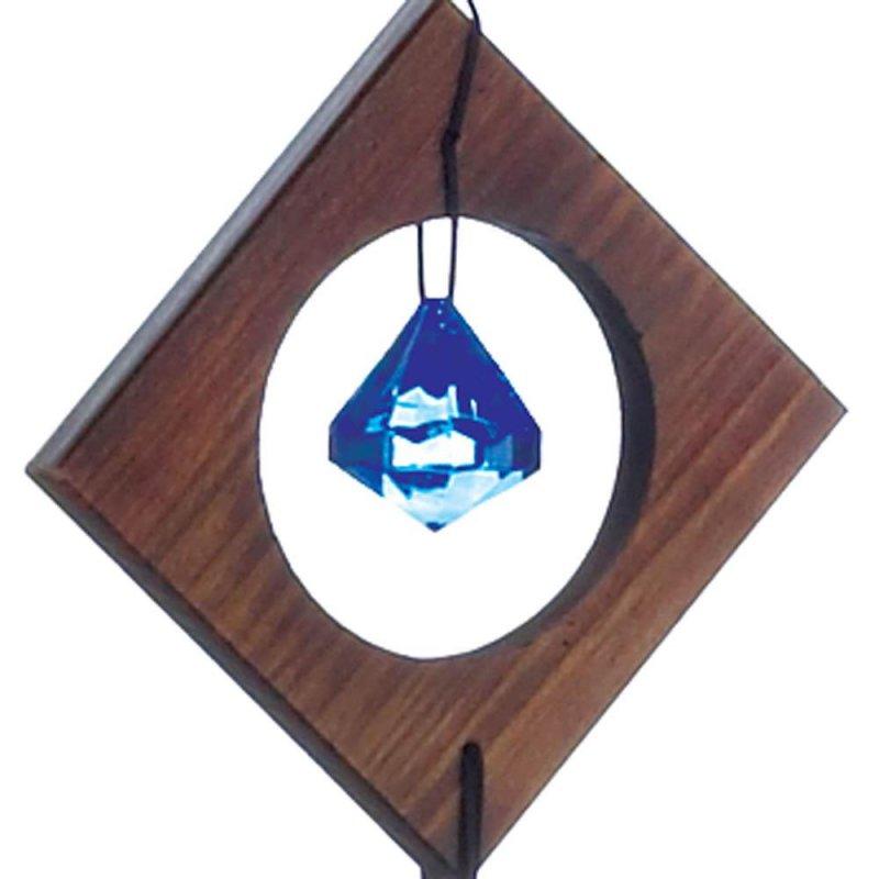 Image 1 of Rustic Wooden Diamond Shape w/ Blue Glass Gem Wind Chime 35