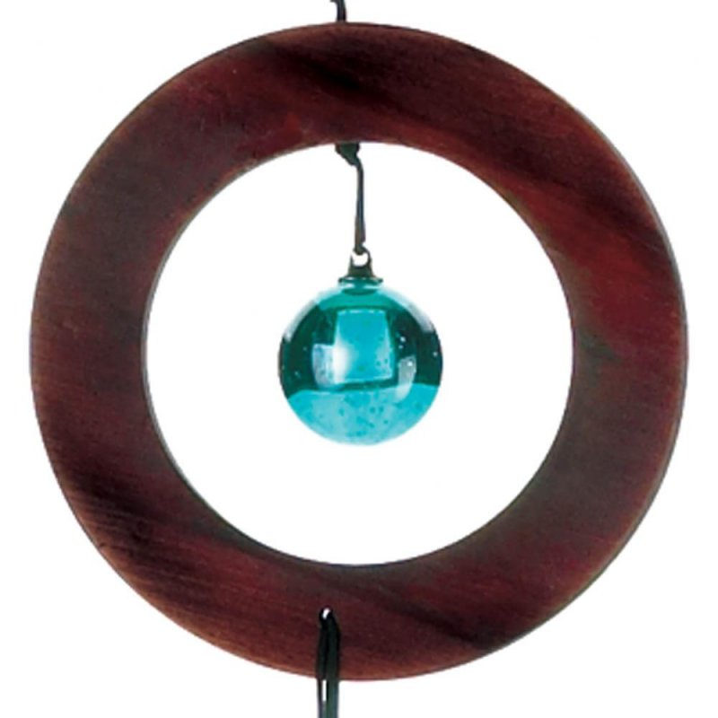 Image 1 of Modern Wooden Circle w/ Blue Glass Gem Wind Chime 35